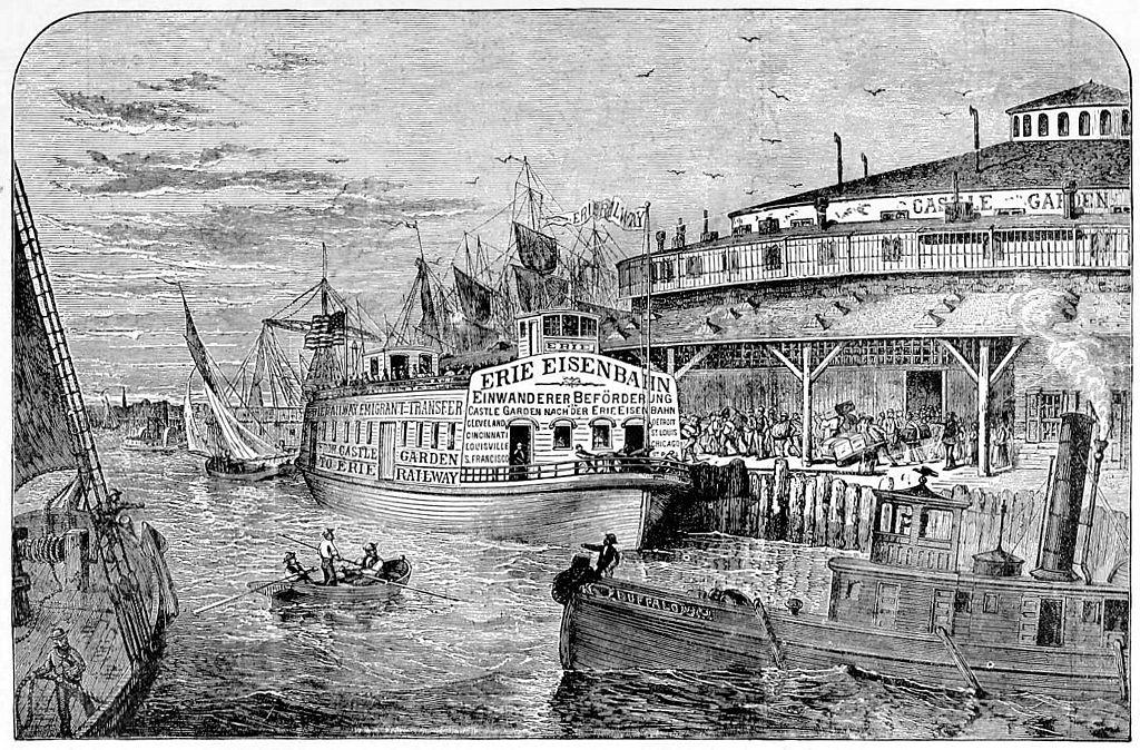 File erie railroad castle garden new york wikimedia commons for Castle garden immigration records