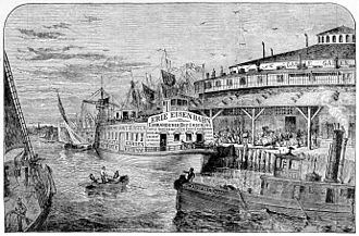 James Bowen (railroad executive) - Castle Garden in New York City, where steamboats departed to the Erie Railroad in Piermont.