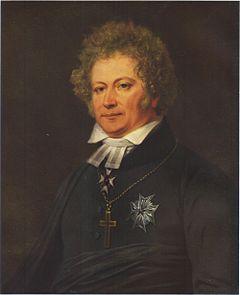 Esaias Tegnér malt af Johan Gustaf Sandberg, cirka 1826.   På brystet bærer han kraschan for Kommandør af det Store Kors af Nordstjærneorden