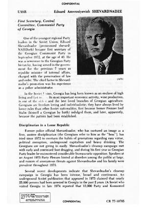 Eduard Shevardnadze - Original CIA file on Shevardnadze, seized from the former United States Embassy in Tehran