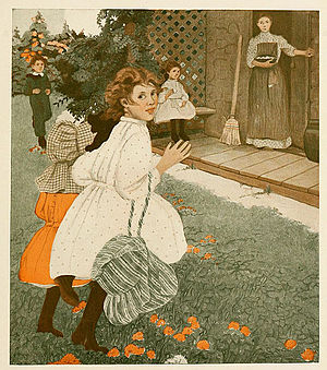 Ethel Franklin Betts - An illustration by Ethel Franklin Betts for James Whitcomb Riley's story Little Orphant Annie (1908).