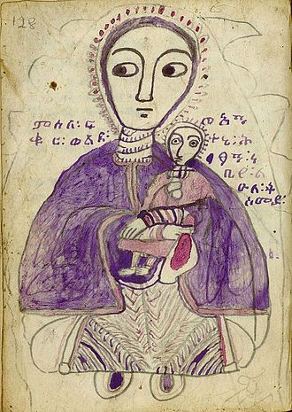 Ge'ez - Drawing of Mary, mother of Jesus, 'with her beloved son,' from a Ge'ez manuscript copy of Weddasé Māryām, circa 1875.