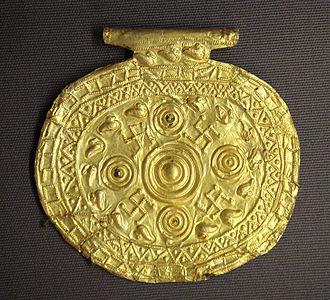 Etruscan civilization - Etruscan pendant with swastika symbols from Bolsena, Italy, 700–650 BC. Louvre