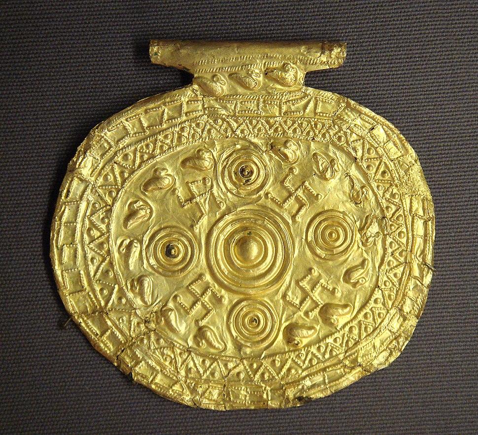 Etruscan pendant with swastika symbols Bolsena Italy 700 BCE to 650 BCE