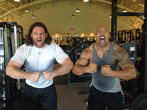 "Philadelphia Eagles' Evan Mathis and Dwayne ""The Rock"" Johnson Evan Mathis and Dwayne Johnson.JPG"
