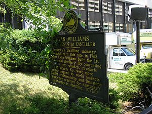 Evan Williams (bourbon) - Historical marker for Evan Williams in Downtown Louisville, Kentucky