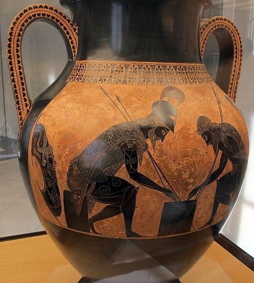 Exekias, anfora con achille e aiace che giocano a dai, castore e polluce, da vulci, 540-30 ac ca. 02