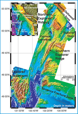 Explorer Plate - Bathymetric profile of Explorer Ridge region