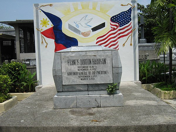 Gravesite of F.B. Harrison at the Manila North Cemetery. FB Harrison Tomb.jpg