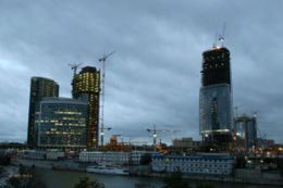 Modern Moscow-City under construction.