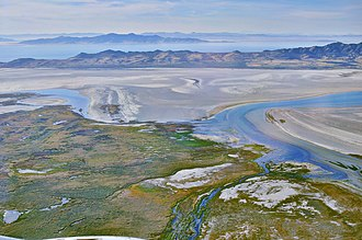 Antelope Island State Park - Aerial view of Farmington Bay, Antelope Island and the Great Salt Lake, 2015