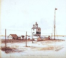 Le second phare de Pointe-au-Père, aquarelle de Henry Richard S. Bunnett.