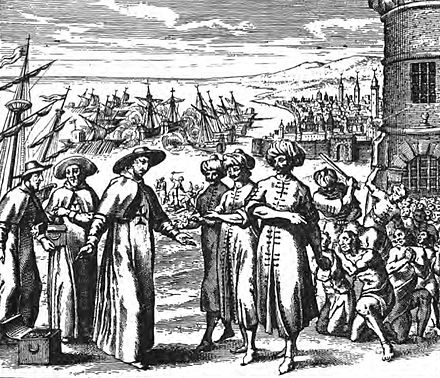 The work of the Mercedarians was in ransoming Christian slaves held in North Africa (1637). Fathers of the Redemption.jpg