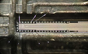 Fax - The chip in a fax machine. Only about one quarter of the length is shown. The thin line in the middle consists of photosensitive pixels. The read-out circuit is at left.