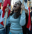 Female protester in Cedar Revolution.jpg