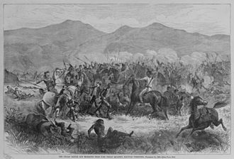 Red Cloud's War - The battle near Fort Philip Kearney, Dakota Territory, December 21, 1866. The battle stood outside the 1851 treaty territory of the Lakotas. These Indian newcomers won the western Powder River hunting grounds for themselves by displacing the local Crows at first. Secondly, they defeated the white soldiers on the very same plains in fights as the one pictured here.