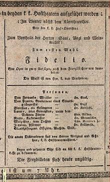 Anschlagzettel zur Uraufführung der dritten Fassung des Fidelio am 23. März 1814 (Quelle: Wikimedia)