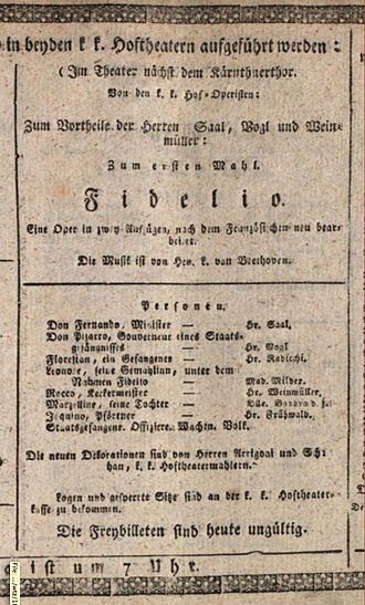 Fidelio - Fidelio, playbill of the third and finalized premiere at the Kärntnertortheater in Vienna, 23 May 1814