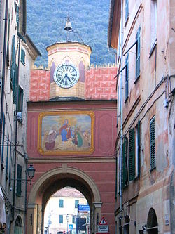 A frescoed gate in Finale Ligure.