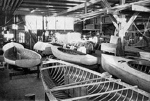 Finn (dinghy) - Building of Finn dinghies in 1952.