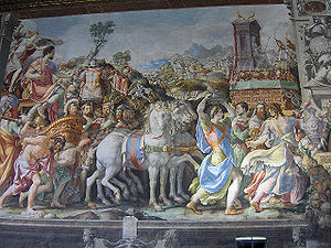 "Marcus Furius Camillus - Francesco Salviati, Triumph of Furius Camillus, Fresco in the Salone dei Cinquecento, Palazzo Vecchio, Florence, Italy. Plutarch, Camillus: ""Camillus... assumed more to himself than became a civil and legal magistrate; among other things, in the pride and haughtiness of his triumph, driving through Rome in a chariot drawn with four white horses, which no general either before or since ever did; for the Romans consider such a mode of conveyance to be sacred, and especially set apart to the king and father of the gods. This alienated the hearts of his fellow-citizens, who were not accustomed to such pomp and display."""