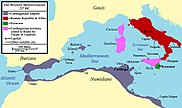Map showing territory ceded by Carthage under the treaty in pink