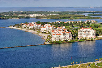 Fisher Island, Florida - View of Fisher Island; South Pointe and Government Cut foreground, Virginia Key background