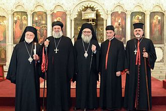 Patriarch of Antioch - From left to right: Gregory III Laham Patriarch emeritus of the Melkite Greek Catholic Church,  Ignatius Aphrem II of Antioch of the Syriac Orthodox Church, John X of Antioch of the Greek Orthodox Church of Antioch, Bechara Boutros al-Rahi of the Maronite Church, and Ignatius Joseph III Yonan of the Syriac Catholic Church