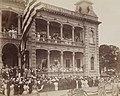 Flags exchanged at Iolani Palace on 12 August 1898, Recueil. Îles Hawaï. I. Histoire. Documents iconographiques rassemblés par Louis Pierre Vossion, Vue 31 (cropped).jpg