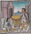 Florentine Codex Fol 61 confección de cubierta de plumas para el chimalli.png