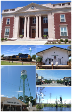 Top, left to right: Charlton County Courthouse, Folkston Funnel, Folkston Train Museum, City Hall, Downtown Folkston, Okefenokee Swamp