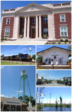 Folkston, Georgia - Top, left to right: Charlton County Courthouse, Folkston Funnel, Folkston Train Museum, City Hall, Downtown Folkston, Okefenokee Swamp