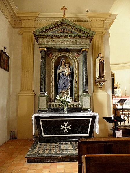 Église Sainte-Marie-Madeleine de Forcé (53). Retable de la Vierge.