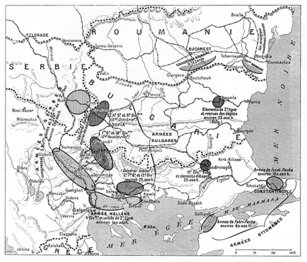 Concentrations of the forces of the Balkan states in June 1913 Forces in the Balkans at the outbreak of the 2nd Balkan War.png