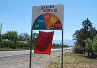 Forest fire danger level (Los Alamos, New Mexico). When danger level is Extreme, a red flag is flown.