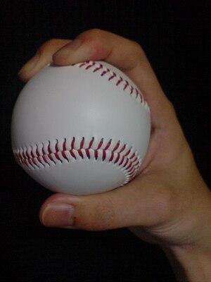 Four-seam fastball - Finger grip on a four-seam fastball