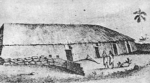 Kawaiahaʻo Church - The grass church that preceded the stone church seated 4000 people by Francis Allyn Olmsted