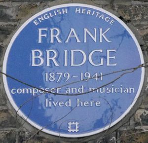 Frank Bridge - Blue plaque, 4 Bedford Gardens, Kensington, London