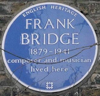 Frank Bridge - Blue plaque, 4 Bedford Gardens, Kensington, London
