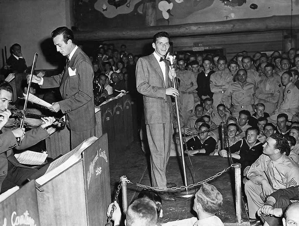 Frank Sinatra and Harry James at the Hollywood Canteen, 1943