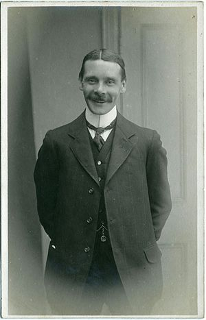 Macassar oil - A young man in Herne Bay, Kent, England, around 1903 to 1914, showing hair groomed with macassar oil