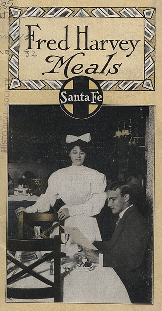 Fred Harvey Company - A cover of the 1909 Santa Fe Railway pamphlet describing Fred Harvey hotels, dining rooms, and sample menus