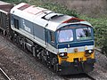 Freightliner 59103 in Hanson livery at Bathpool.JPG