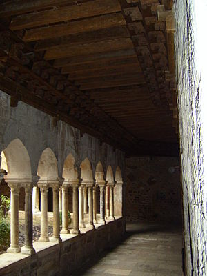 Fréjus Cathedral - The Cloister (13th century) has a painted wooden ceiling (14th century)