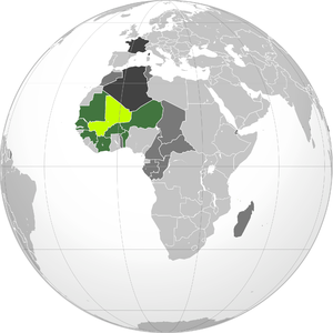 Slavery in Mali - French Sudan (Lime) and the rest of the French colonies in Africa (Dark Green).