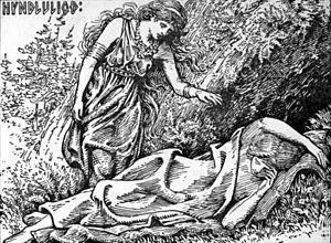 "Hyndluljóð - ""Freyja awakes Hyndla"" (1908) by W. G. Collingwood."