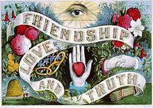 Cromolitografia Amicizia, amore e verità, pubblicata da Currier & Ives, 1874