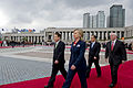 From left, South Korean Foreign Minister Yu Myung-hwan, U.S. Secretary of State Hillary Rodham Clinton, South Korean Minister of Defense Kim Tae-young and U.S. Secretary of Defense Robert Gates participate in 100721-D-JB366-019.jpg