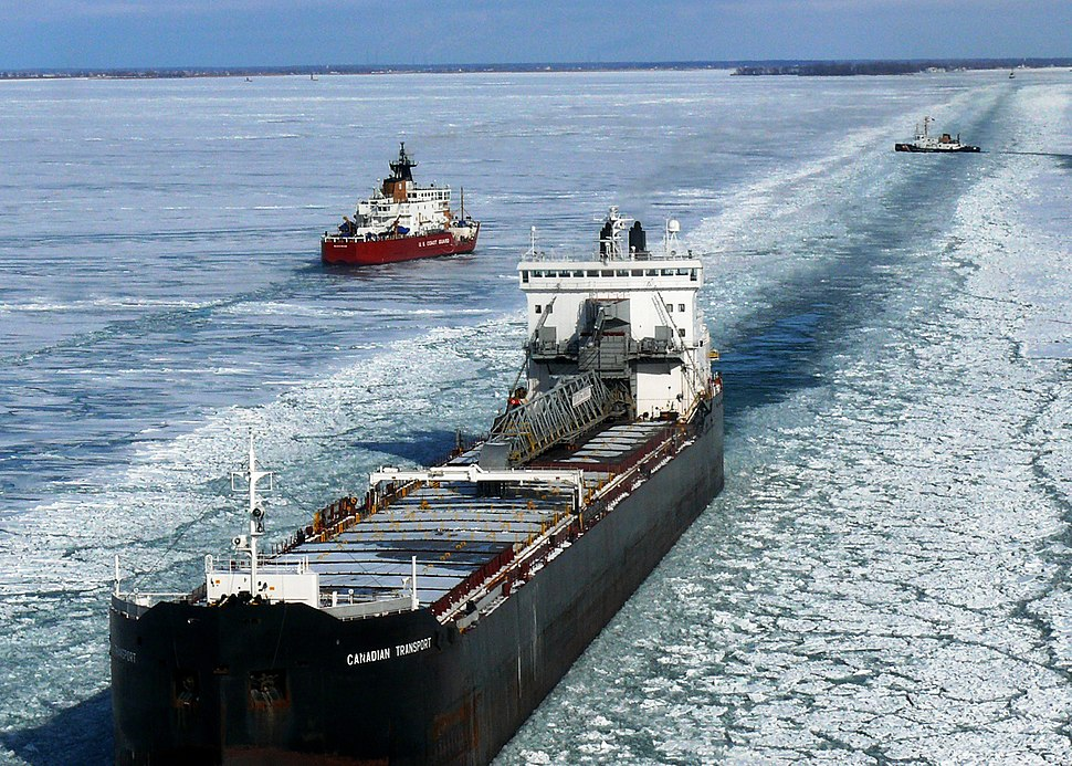 Frozen Lake Huron- icebreakers and commercial vessels