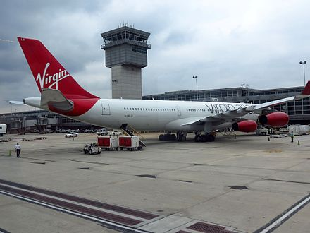 A Virgin Atlantic Airbus A340-300 parked at Concourse A - Washington Dulles International Airport